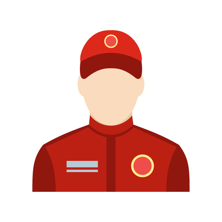 sports winner: Car racer flat icon. Man in red uniform isolated on white background Illustration