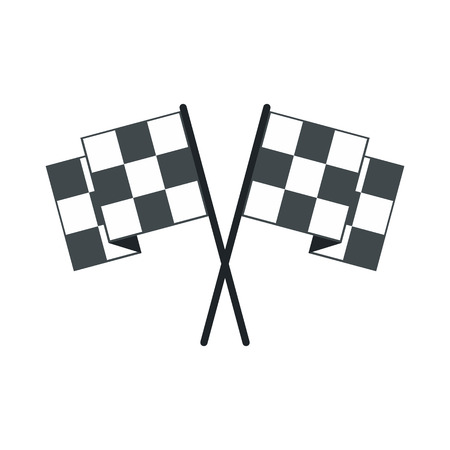 racing checkered flag crossed: Finishing flags flat icon. Car racing black and white flags isolated on white background Illustration