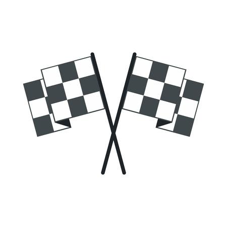 motorized sport: Finishing flags flat icon. Car racing black and white flags isolated on white background Illustration