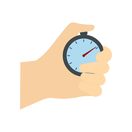 Stopwatch in hand flat icon. Car racing symbol isolated on white background Illustration