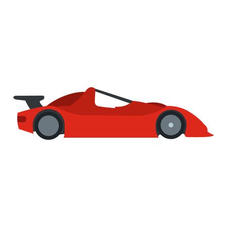 speeding: Speeding race car flat icon. Car racing symbol isolated on white background