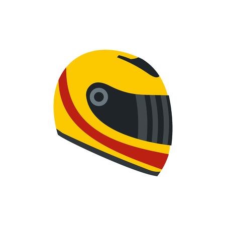Compitiendo con el casco icono plana. casco amarillo y rojo aislado en el fondo blanco