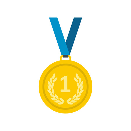 medal: Golden medal flat icon isolated on white background. Winner symbol for web and mobile devices