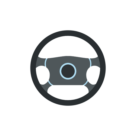 steering wheel: Steering wheel flat icon isolated on white background Illustration