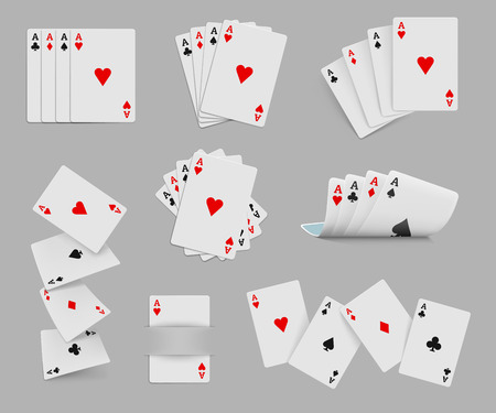 cards poker: Four aces playing cards set for any design Illustration