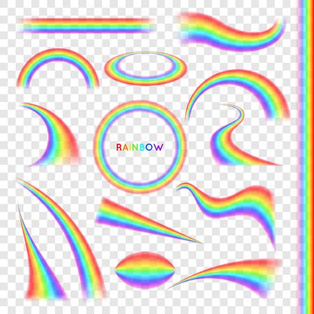Arco iris en forma diferente conjunto realista en el fondo transparente Ilustración de vector