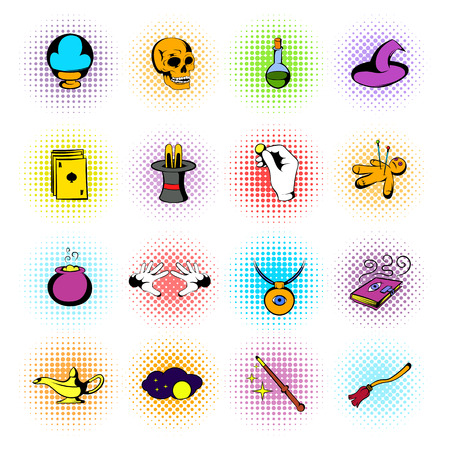 magic book: Magic comics icons set isolated on white background