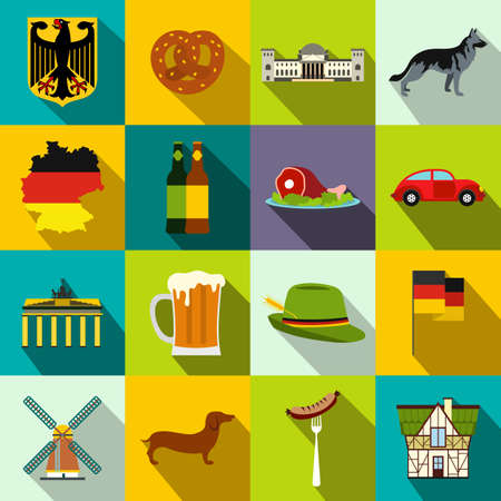germanic people: Germany flat icons set for web and mobile devices Illustration