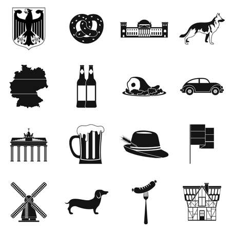 germanic people: Germany black simple icons set isolated on white background