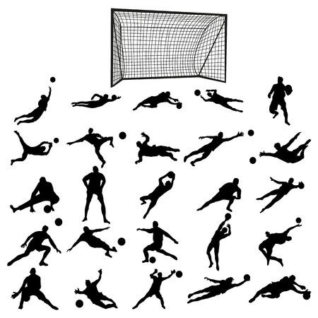 arquero futbol: Fútbol conjunto portero silueta aislados sobre fondo blanco