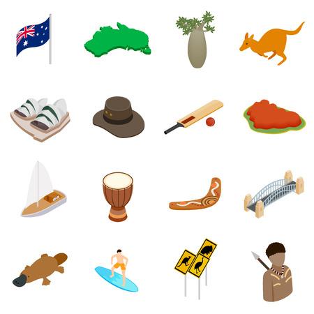 3d icons: Australia isometric 3d icons set isolated on white background Illustration