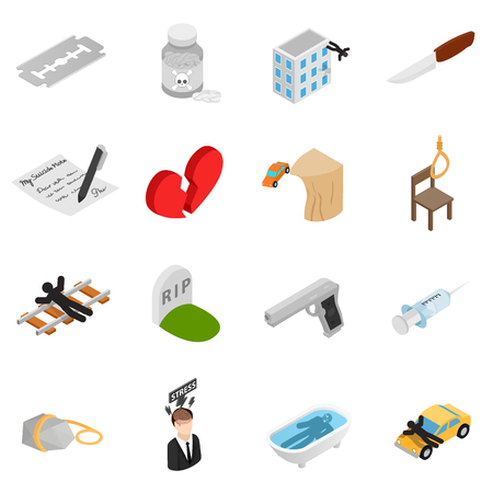 suicidal: Suicide isometric 3d icons set isolated on white background
