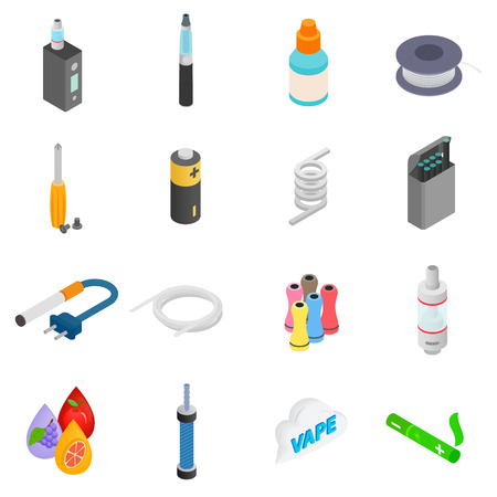 electronic device: Electronic cigarettes isometric 3d icons set isolated on white background