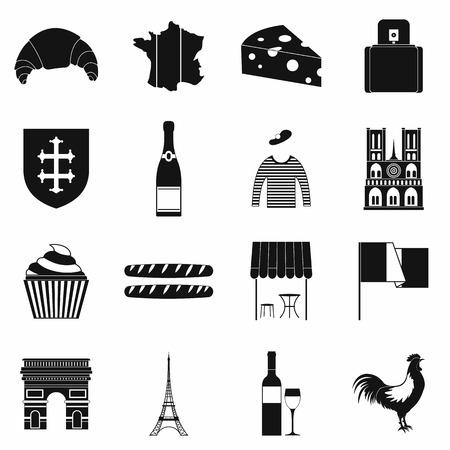 france flag: France black simple icons set isolated on white background Illustration
