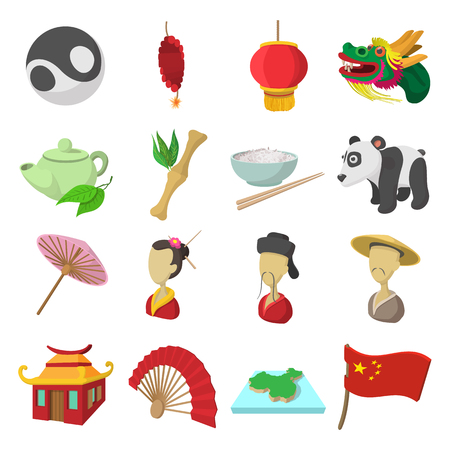 china map: China cartoon icons set isolated on white background