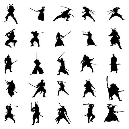 Set di silhouette guerrieri samurai isolato su sfondo bianco