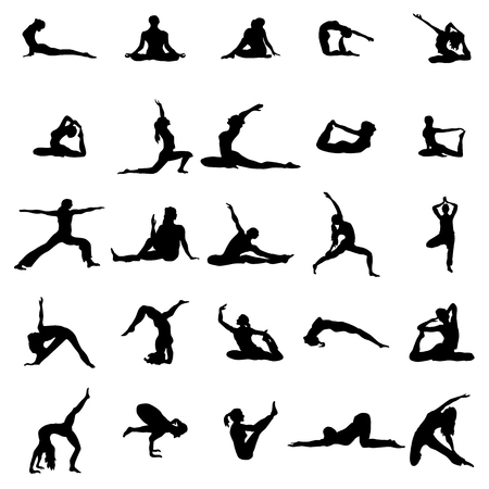 flexible woman: Yoga silhouette set isolated on white background Illustration