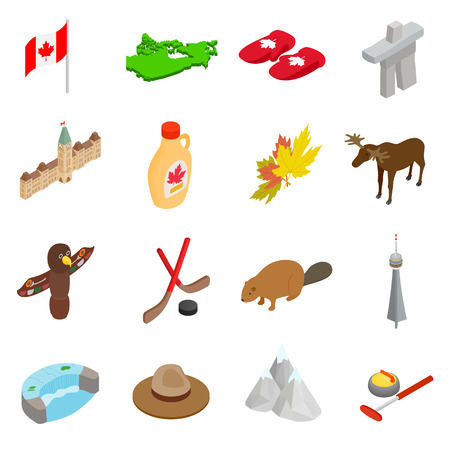 3d icons: Canada isometric 3d icons set isolated on white background