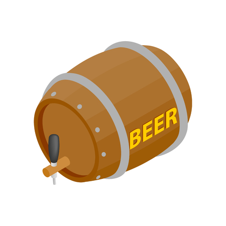 distillery: Wooden barrel of beer with a tap isometric 3d icon on a white background Illustration