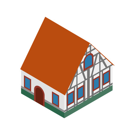 timbered: Half timbered house in Germany isometric 3d icon on a white background