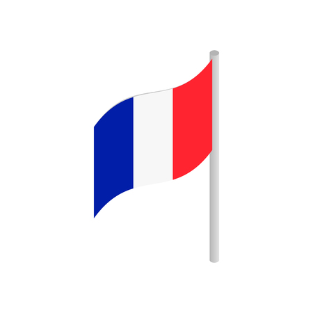 flag pole: Flag of France with flag pole waving in the wind isometric 3d icon on a white background
