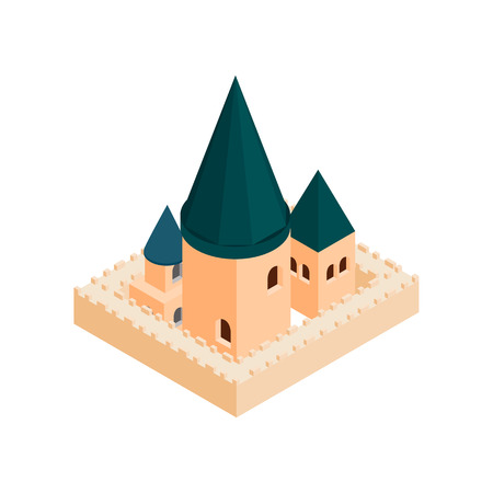 minster: Roman Catholic church isometric 3d icon on a white background