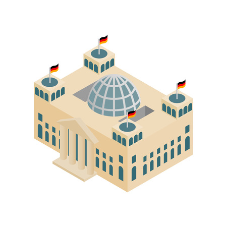 houses of parliament: German Reichstag building isometric 3d icon on a white background