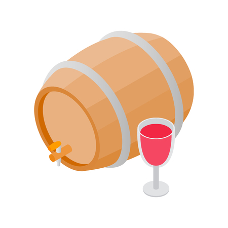 wood creeper: Wooden barrel of wine with a tap isometric 3d icon on a white background Illustration