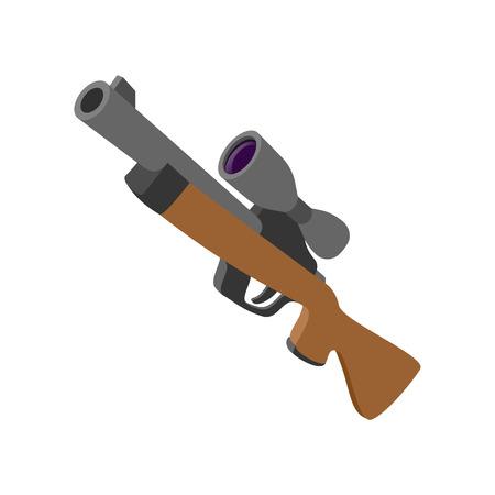 vintage rifle: Hunting rifle with sight cartoon icon. Single symbol isolated on a white background Illustration