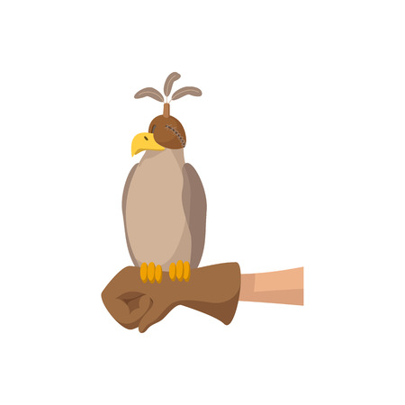 rapacious: Falcon hunting cartoon icon. Falcon in special cap sittong on the hunter glove