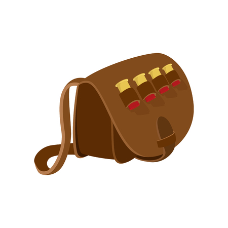 Hunter leather bag cartoon icon. Hunting symbol isolated on white background