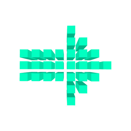 arow: Arrow made of squares cartoon icon. Left blue arrow isolated on a white background Illustration