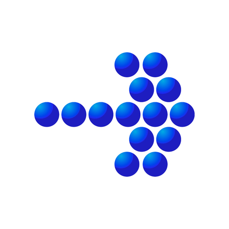 disappearing point: Blue mosaic right arrow cartoon icon. Single symbol isolated on a white background Illustration