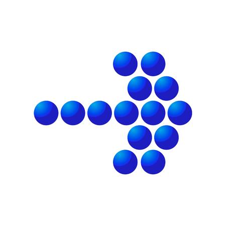 turning point: Blue mosaic right arrow cartoon icon. Single symbol isolated on a white background Illustration
