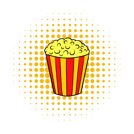 crunches: Popcorn comics icon isolated on a white background