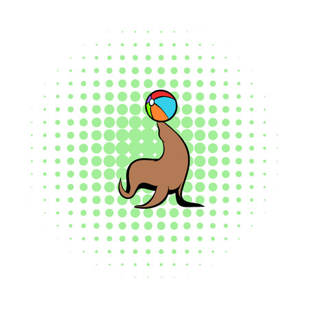 cartoony: Fur seal circus comics icon isolated on a white background
