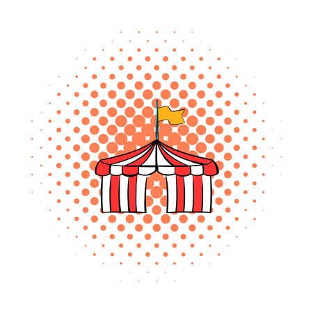 encampment: Circus tent comics icon isolated on a white background Illustration
