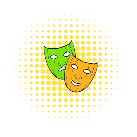 tragic: Comedy tragic and comics masks icon isolated on a white background