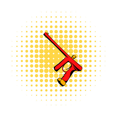hopper: Paintball gun comics icon isolated on a white background