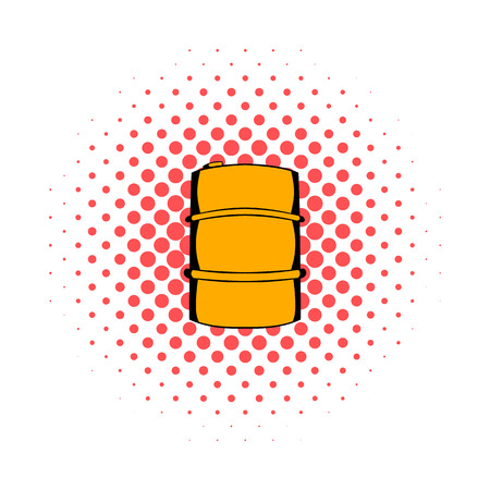 toxic substances: Metal barrel comics icon isolated on a white background