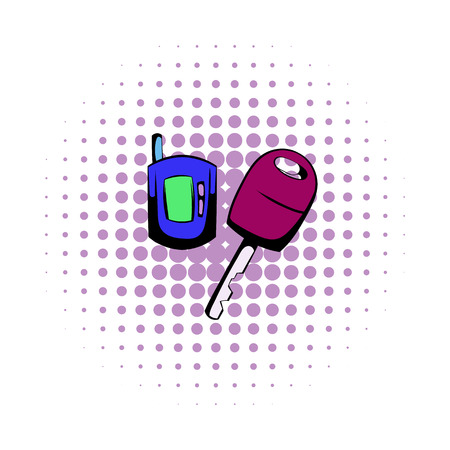 Car key with a remote control comics icon isolated on a white background