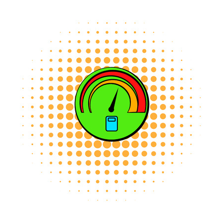 fuel gauge: Car fuel gauge comics icon isolated on a white background