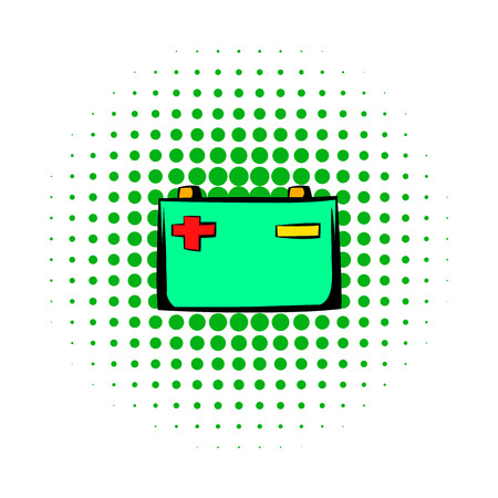 alternator: Car battery comics icon isolated on a white background