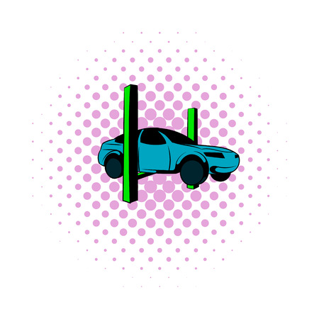 Car on the lift comics icon isolated on a white background Ilustração