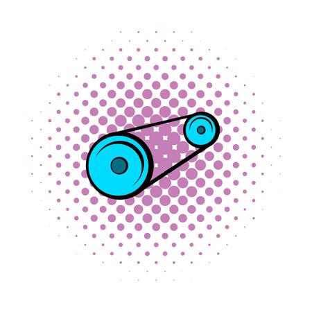 timing belt: Alternator belt comics icon isolated on a white background
