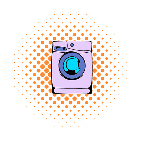 fully automatic: Washing machine comics icon isolated on a white background
