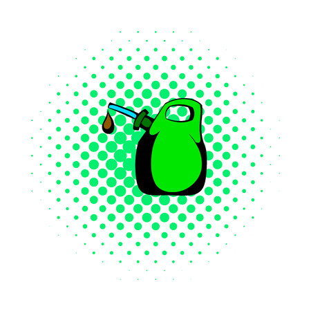 Oil canister comics icon isolated on a white background