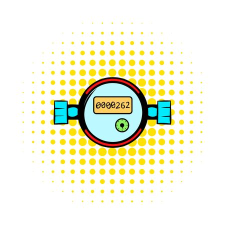 heating engineers: Water meters comics icon isolated on a white background