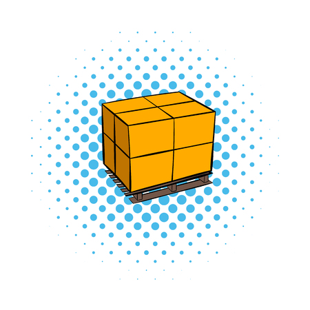 strapping: Pallet with cardboard boxes comics icon isolated on a white background
