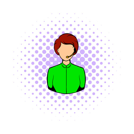 gender identity: Avatar comics girl icon isolated on a white background